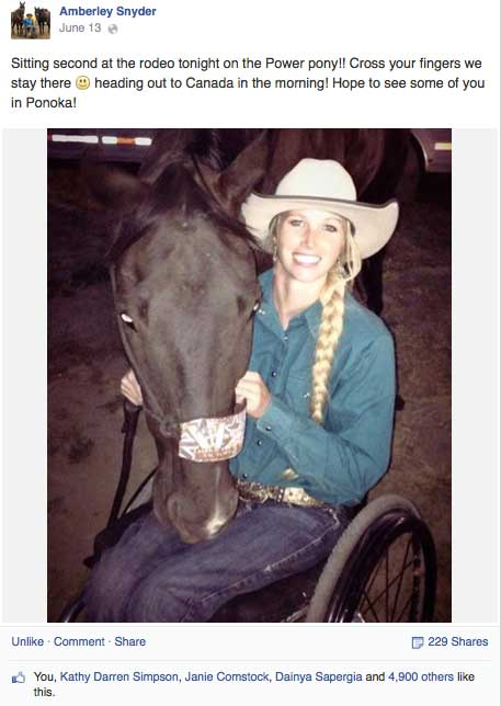 Amberley Snyder spoke to the hundreds of the high school rodeoers at the Alberta High School Rodeo Finals.