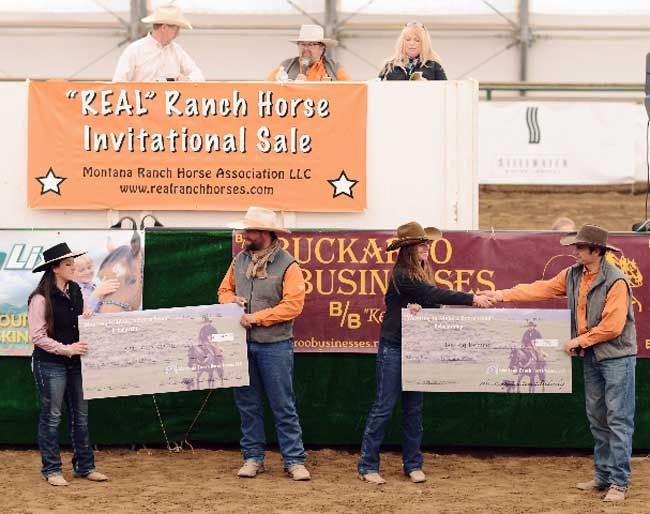 Montana Ranch Horse Association members Josh Bilbrey, far right, and Jake Hahn, third from right, present scholarships to Kristen Cerroni (at left) and Bailey Remmich.