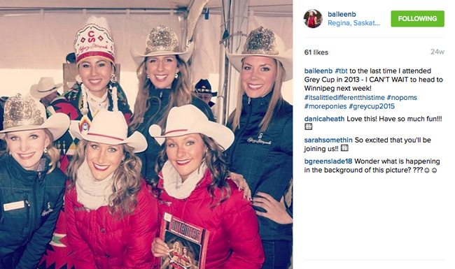 Bailee attending the 2013 Grey Cup.